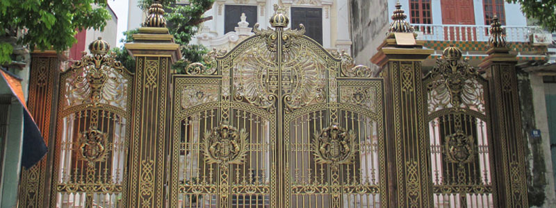 Cổng nhôm đúc Quang Đại CQD 64